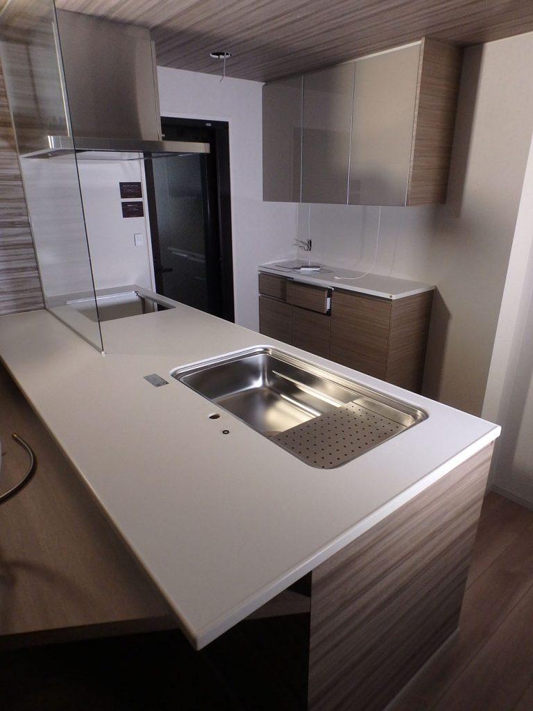 RAW20 展示品 タカラスタンダード ハーフアイランド システムキッチン カップボード 水栓 グロエ 食洗器 レンジフード付き W2500